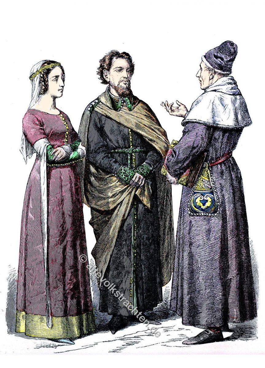 Englische Mode während der Regierung von Eduard III. Bürgerliche Trachten England 14. Jh.