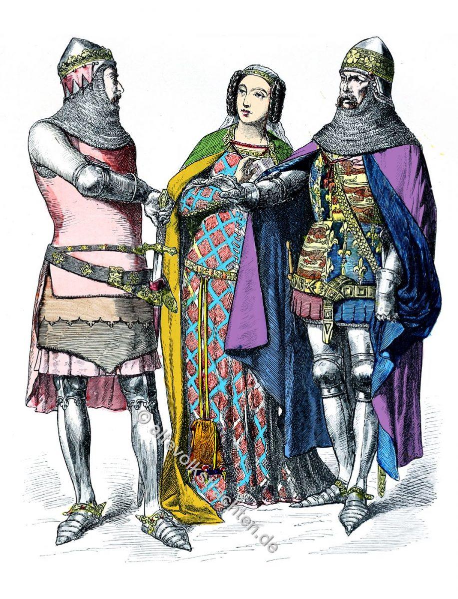 Kleidung der Ritter (Militär) und Adel zwischen 1330 u. 1370. Englische Mode in der Regierungszeit von Eduard III.
