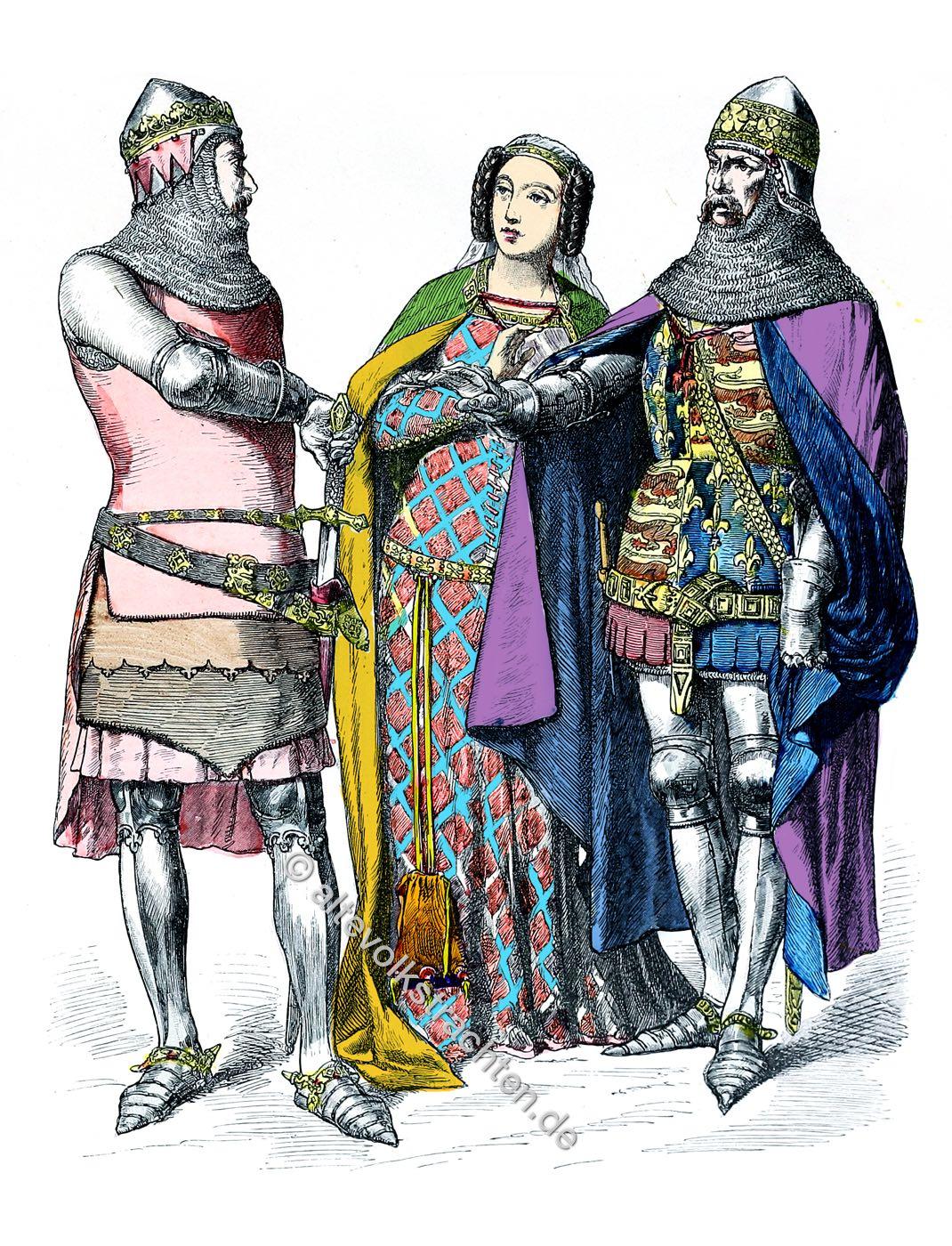 Münchener Bilderbogen, Ritter, Adelige Dame, Mode, England, Mittelalter,