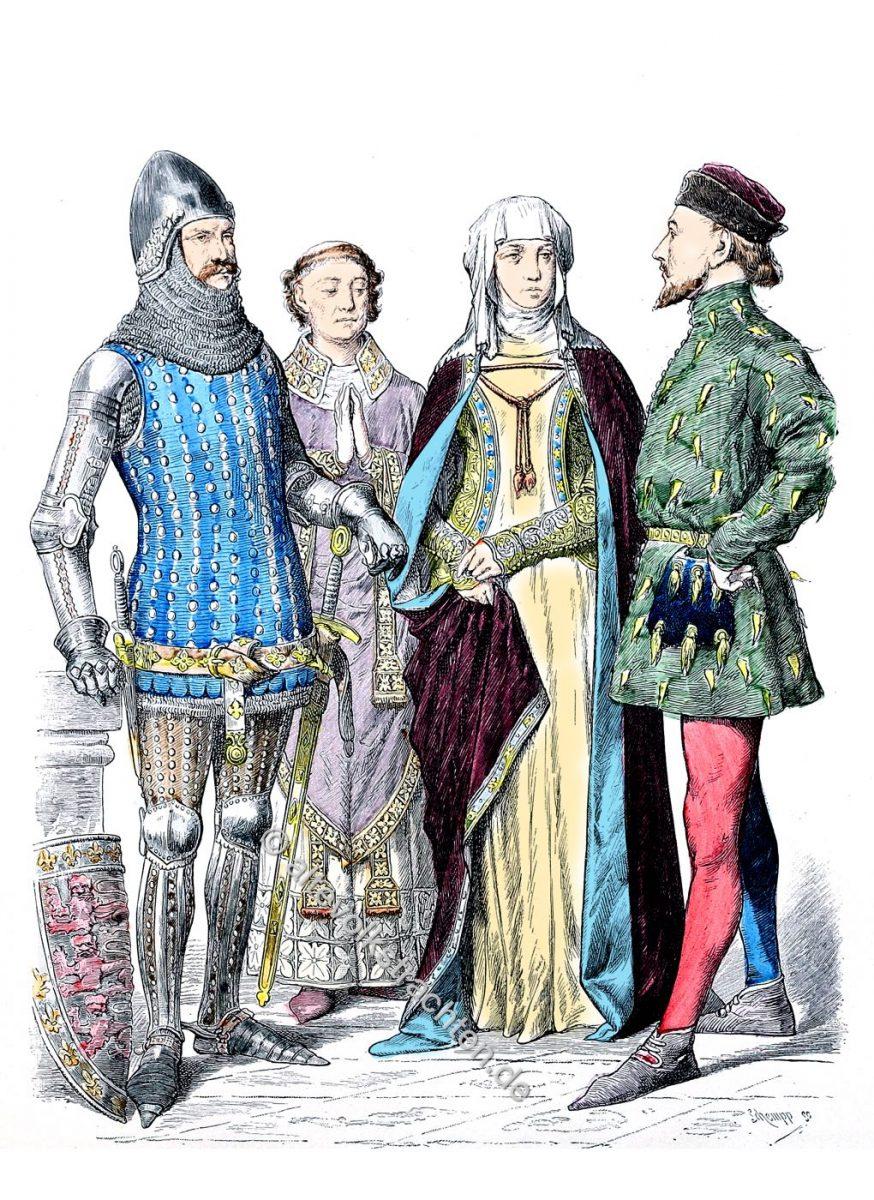 Mode in England zur Zeit Eduard III. Ritter 1365. Bischof 1330. Adelige Dame 1350. Adeliger 1390.
