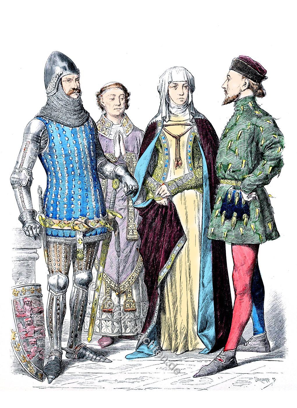 Münchener Bilderbogen, Ritter, Adel, Bischof, Mode, England, Mittelalter, Kostüme