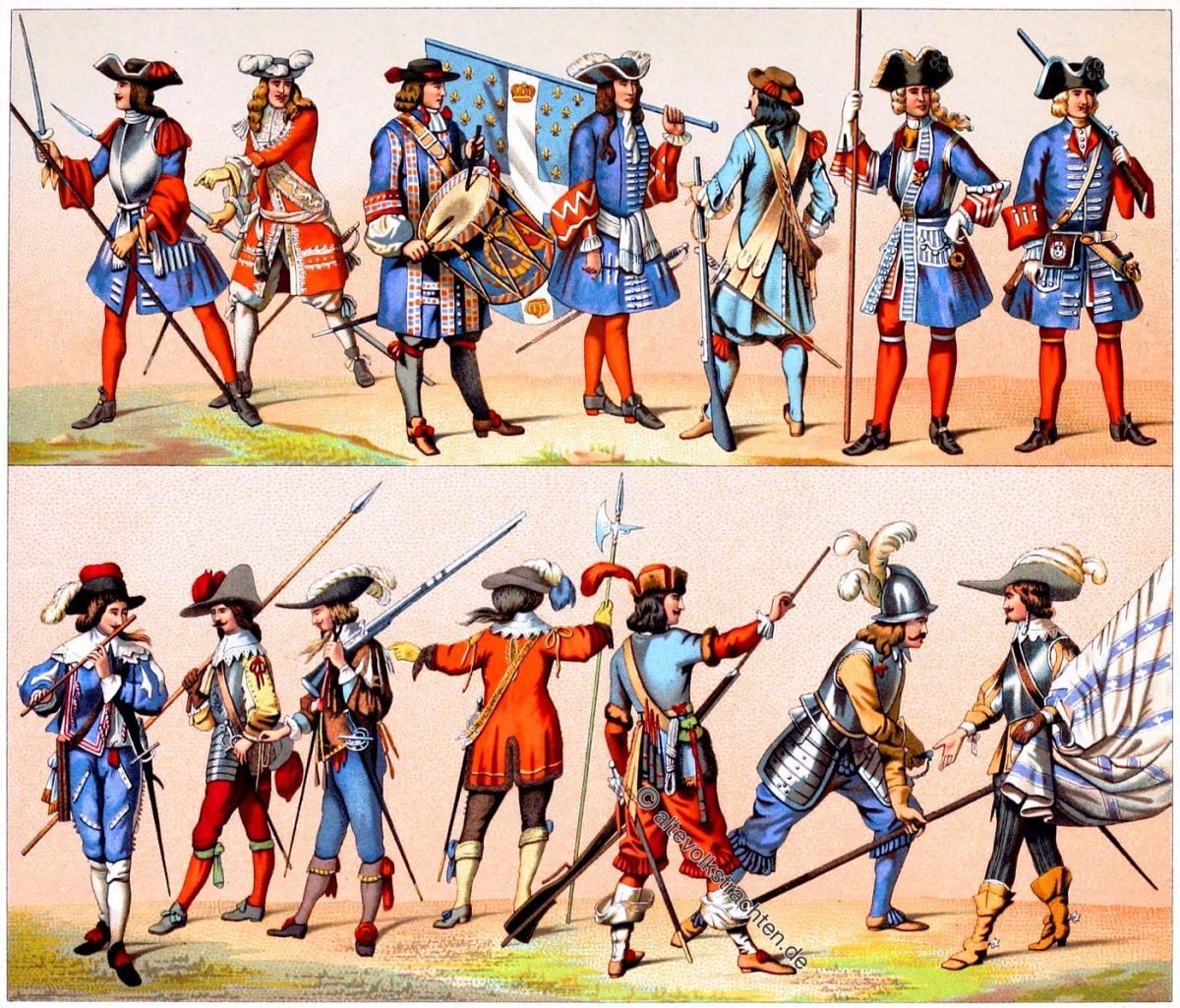 Die französischen Garden seit ihrer Gründung. Soldaten Uniformen des 17. und 18. Jahrhunderts.