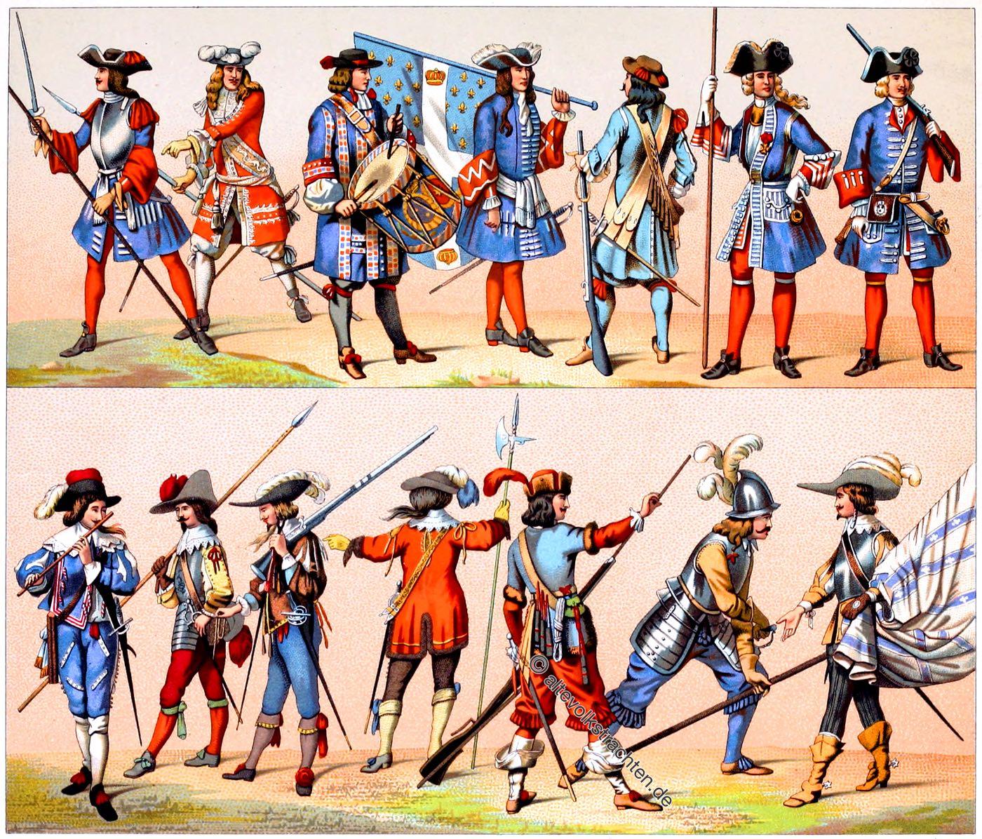 Frankreich, Militär, Uniformen, Soldaten, Garde, Elitesoldaten, Trachten, Kostüme, Auguste Racinet, Barock