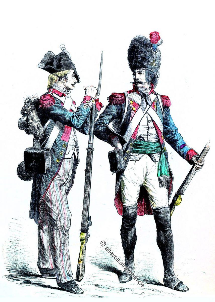 Französischer Infanterie Soldat von 1799 und ein Grenadier von 1795. Französische Republik. Münchener Bilderbogen. Zur Geschichte der Kostüme.
