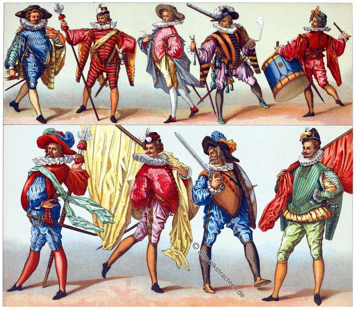 Französische Infanterie der Renaissance unter Heinrich III. im 16. Jahrhundert.
