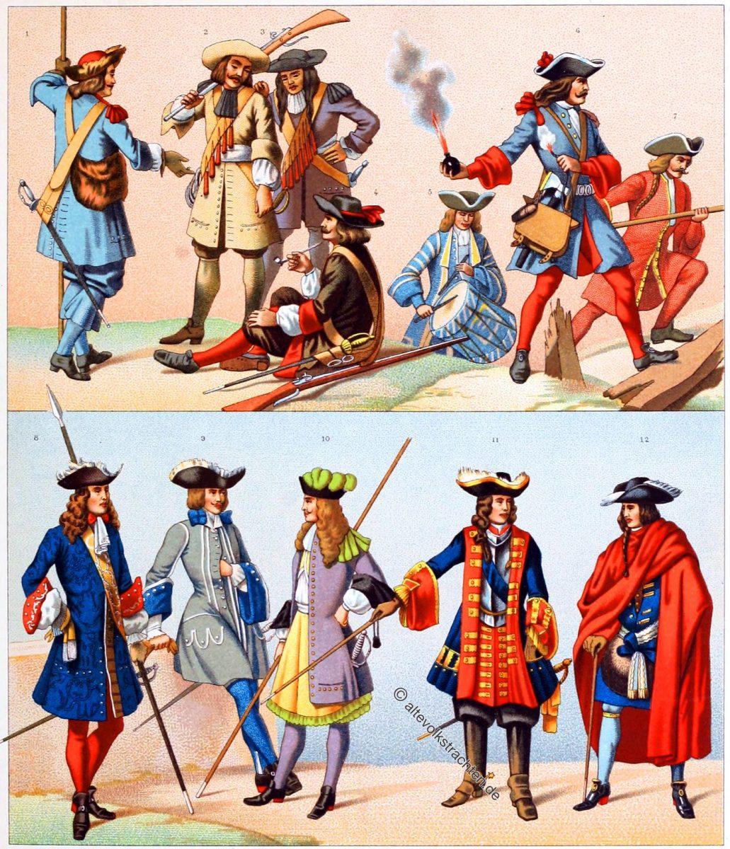 Frankreich unter Louis XIV. Musketiere. Uniformen der Infanterie 1660 - 1690. Soldaten des Barock im 17. Jh.