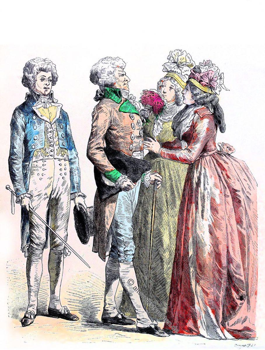 Bürgerliche Trachten von 1790 - 1792. Münchener Bilderbogen.