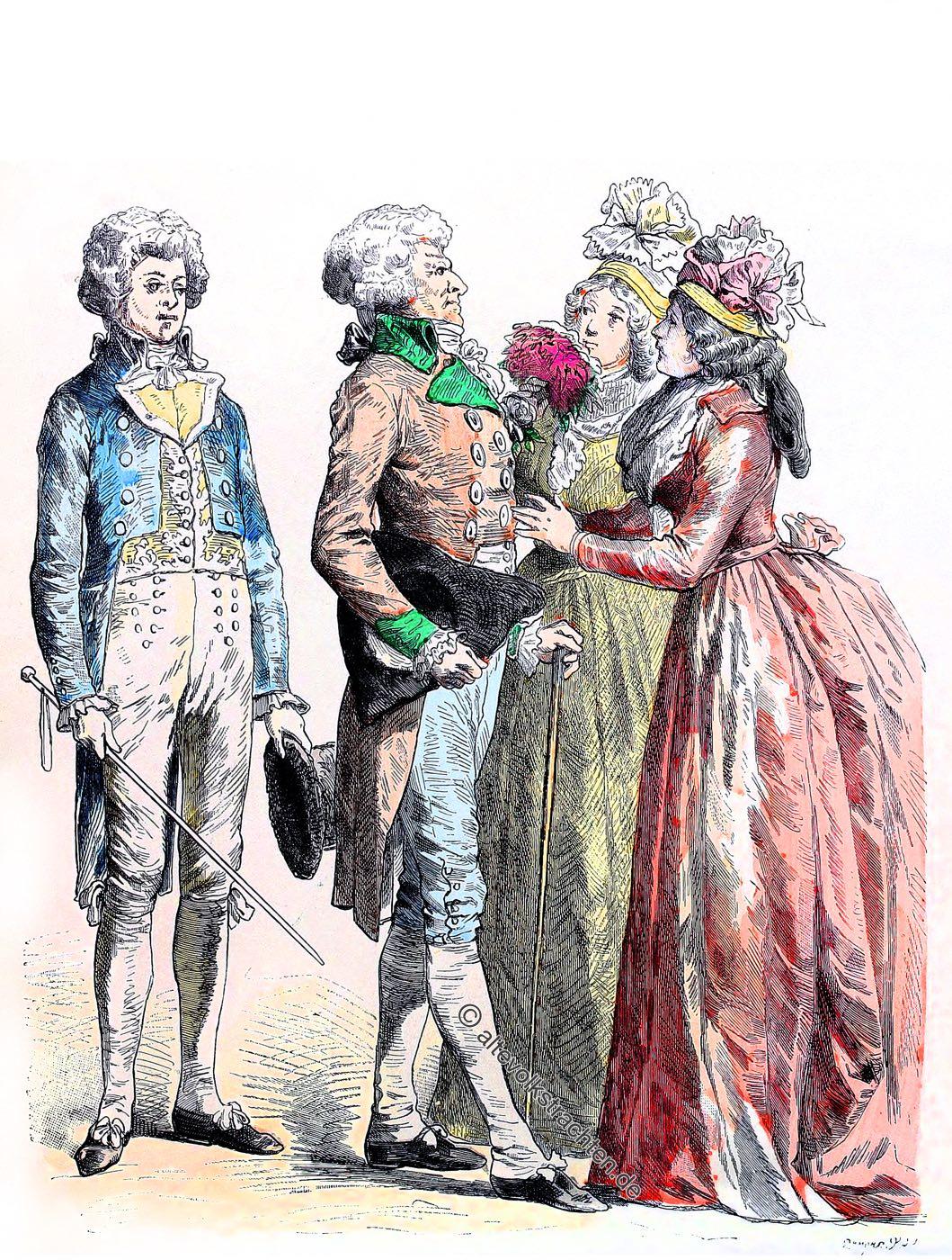 1790, 1792, Frankreich, Revolution, Republik, Bürgerliche Kleidung, Mode, Trachten, Münchener Bilderbogen,