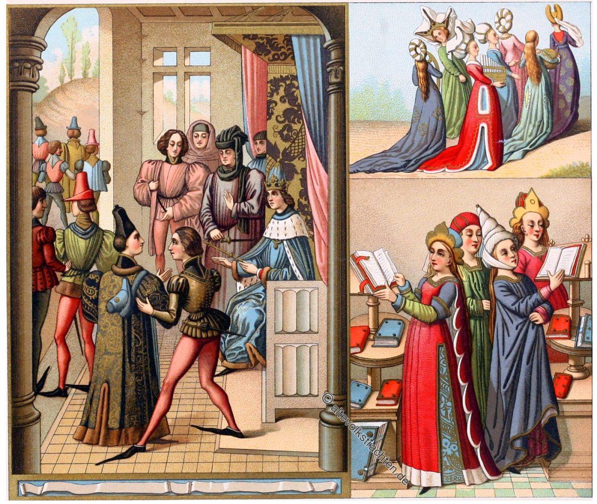Chroniken des Froissart. Mittelalter Kostüme des 15. Jahrhundert. EINE FÜRSTLICHE VERSAMMLUNG. EIN DOKTOR DER RECHTE. FRAUENTRACHTEN.