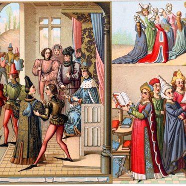 Eine fürstliche Versammlung im Mittelalter.