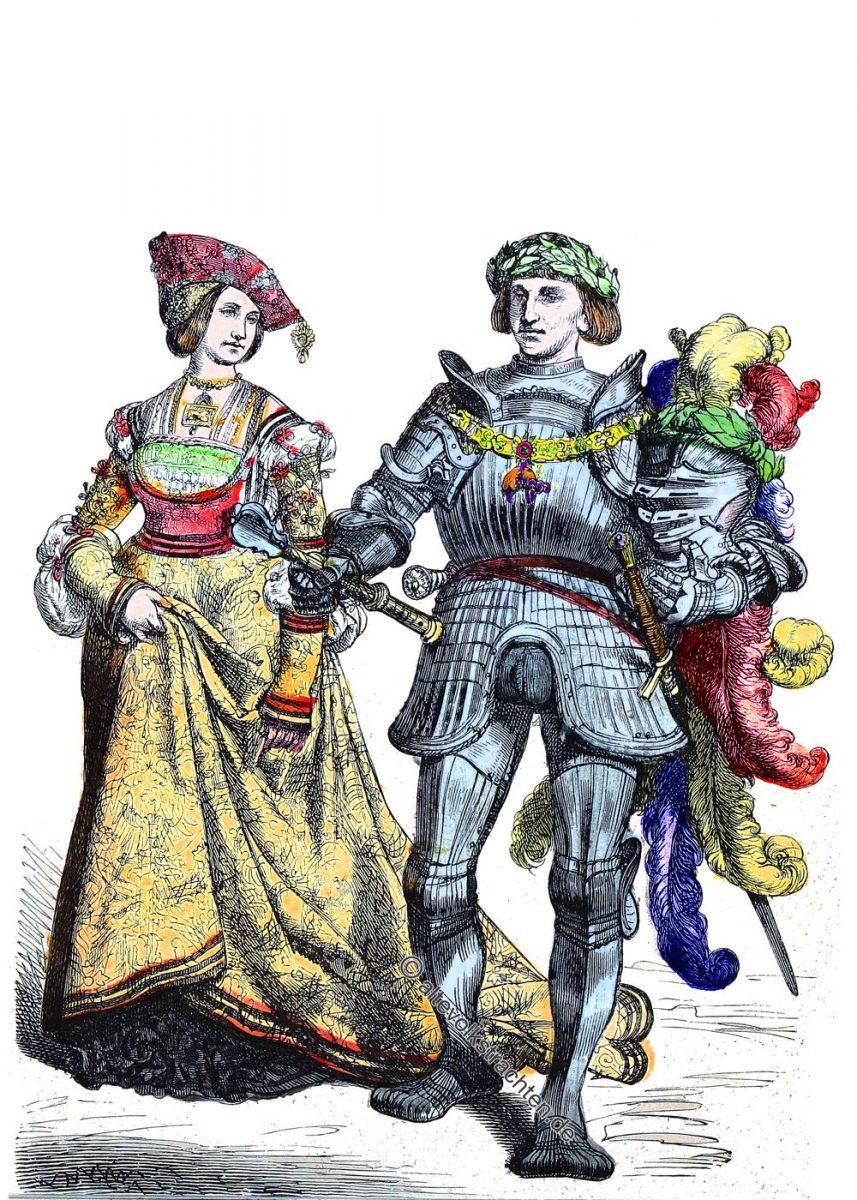 Ritter, Fürst, Fürstin, Gewandung, Kostüme, Mittelalter, Renaissance, Mode, Münchener Bilderbogen
