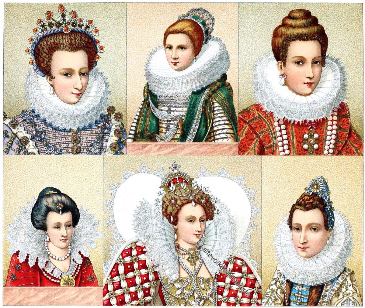 Spanische Mode. Halskrausen, Frisuren, Kostüme. Mode des Barock. England Tudor Mode Epoche. 16. und 17. Jahrhundert. Historische Trachten und Kostüme.
