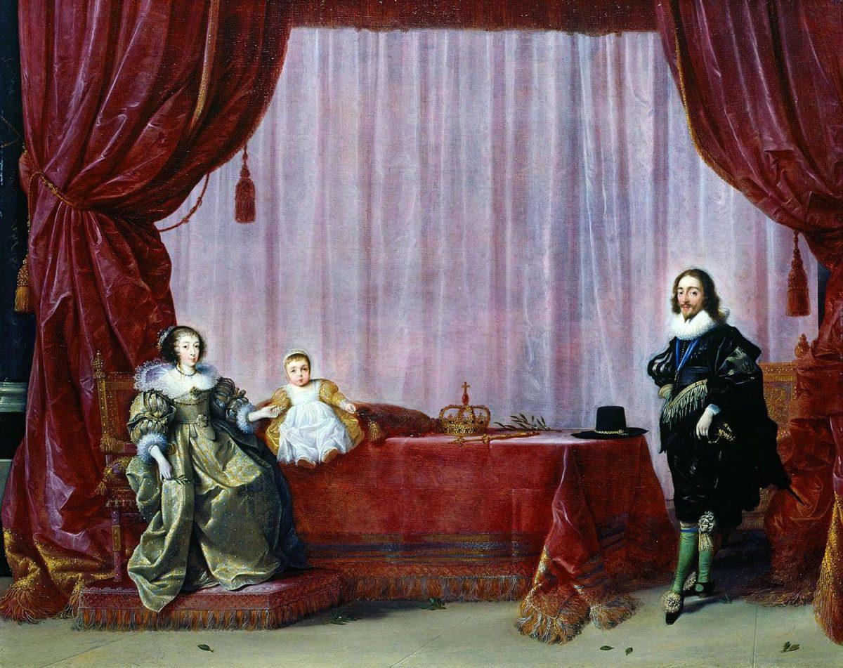 Henrietta Maria mit ihrem Sohn Charles, Prince of Wales und Karl I., um 1632 von Hendrik Gerritsz Pot.