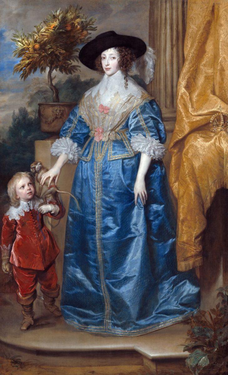 Porträt der Königin Henrietta Maria, mit dem Zwerg Sir Jeffrey Hudson von Anthony van Dyck.