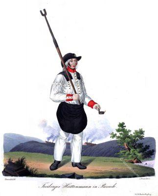 Freiberger Hüttenmann in Parade, 1830. Sachsen Trachten 19. Jahrhundert. Trachten der Berg- und Hüttenleute im Königreich Sachsen von Gustav Wunderlich und G. E. Rost. Freiberg 1830.