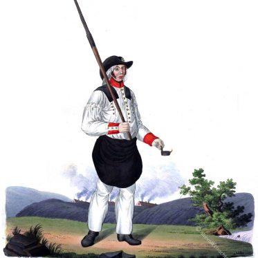Freiberger Hüttenmann in Paradetracht. Sachsen 1830.