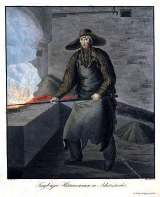 Freiberger Hüttenmann in Arbeitstracht (bei C.G. Rost in Freiberg 1830). Sachsen Trachten 19. Jahrhundert. Trachten der Berg- und Hüttenleute im Königreich Sachsen