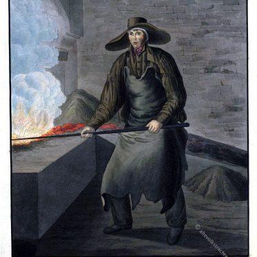 Freiberger Hüttenmann am Schmelzherd in Arbeitstracht.
