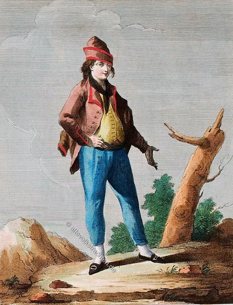 Mann in der Tracht von Ischia um 1780. Vomo d'Ischia. Costume Nazionale. Homme dé Ischia. Isle tout prés dé Naples. Costumes nationaux.