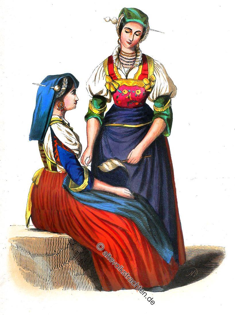 Costume, Kostüm, Frosolone, Abruzzen, Italien, Süditalien, Trachten, Nationaltracht, Auguste Wahlen,
