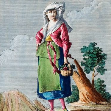 Frau in der Tracht von Ischia, Italien.