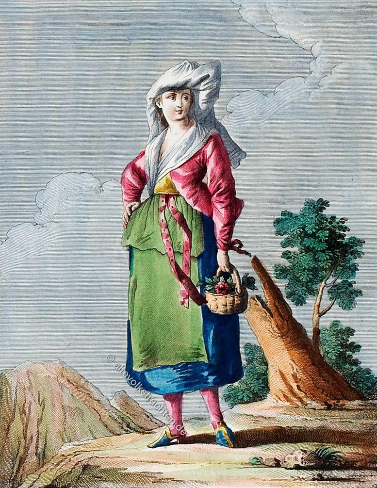 Frau in der Tracht von Ischia, Italien um 1780. Costume Nazionale. Donna d'Ischia. Isola vicino a Napoli. Famme dé Ischia. Isle tout prés dé Naples.