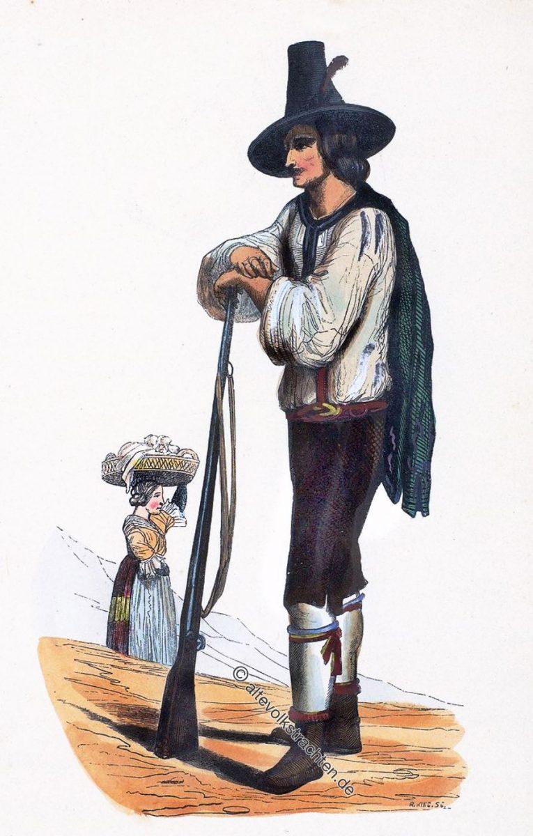 Jäger und Bewohnerin aus dem Zillertal, Tirol, Österreich um 1840.