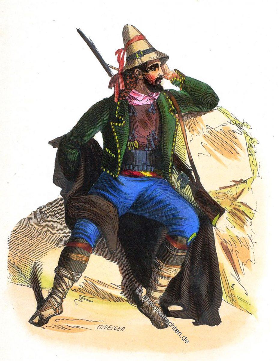 Tracht aus Kalabrien, Süditalien um 1840. Paysan Calabrais. - Calabrian peasant.