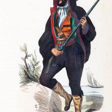 Mann in der Tracht von Korsika, Frankreich.