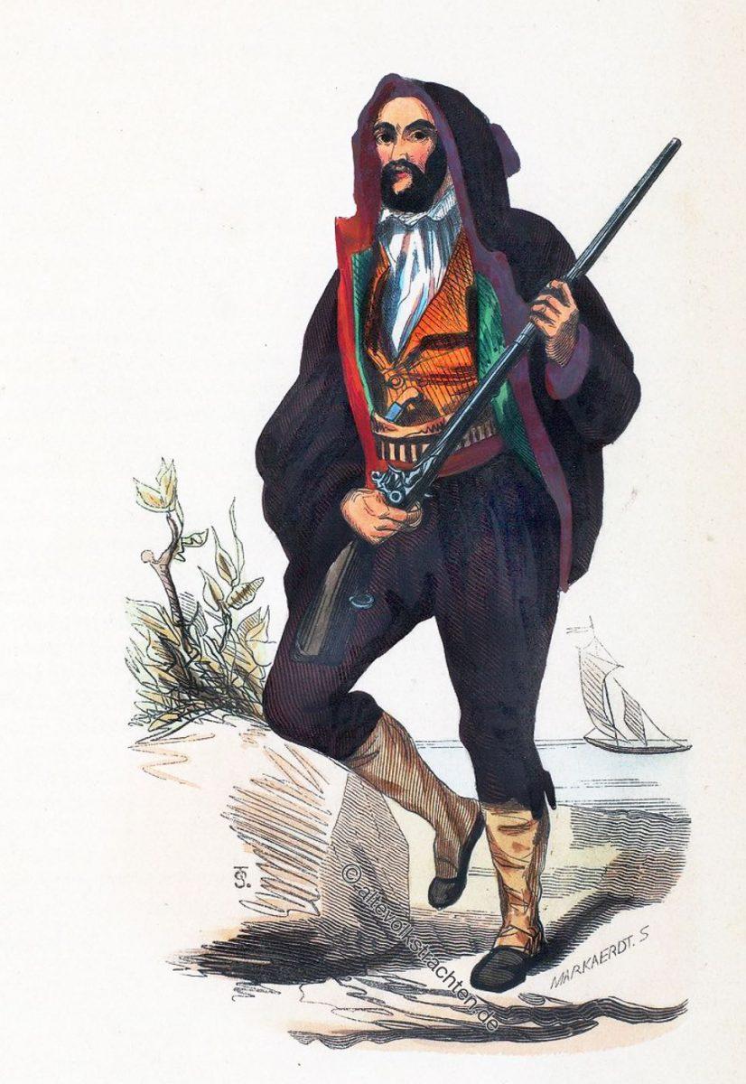 Costume Traditionnel Corse. - Man from Corsica. Korsische Männertracht um 1840.