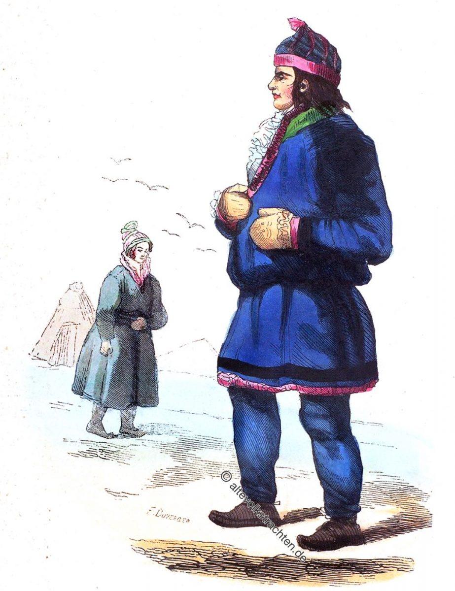 Lapons. - Inhabitants of the Lapps. Trachten der Samen um 1840. Historische Trachten und Kostüme.