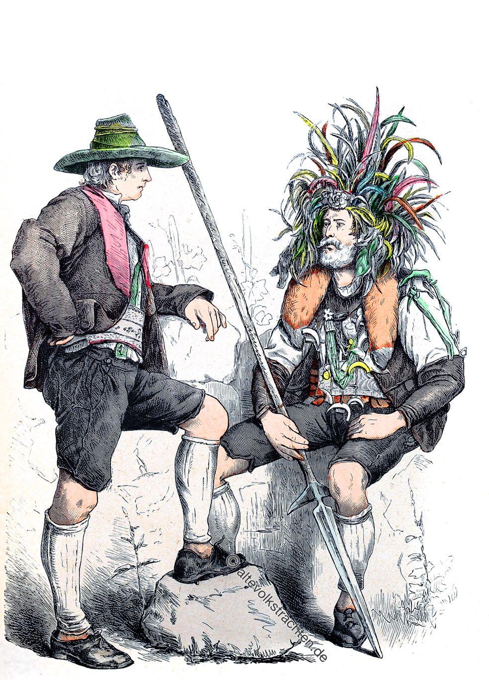 Trachten, Meran, Südtirol, Volkstrachten, Münchener Bilderbogen, Kostüme, Traditionelle Kleidung