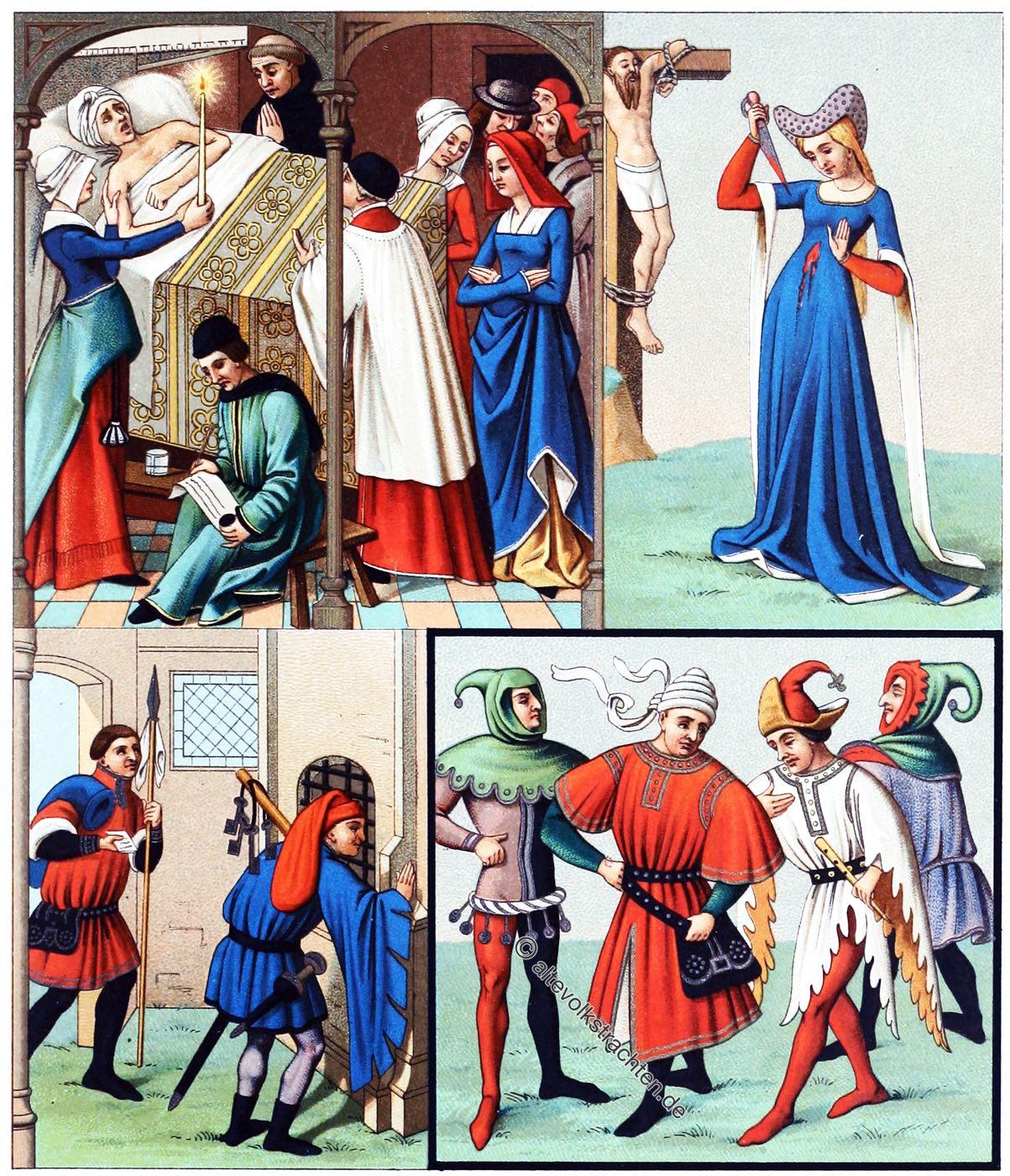 Mittelalter, Gewandung, Tabart, Hoike, 14. Jahrhundert, Mode, Kostüme, Mittelalter Gewandung, Schellentracht, Zatteltracht, Auguste Racinet