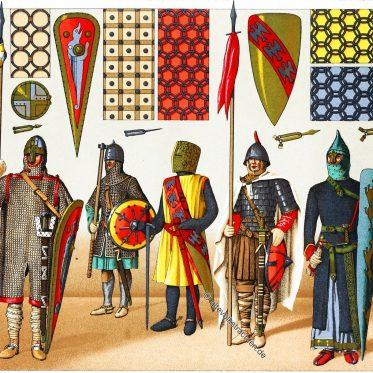 Kriegstrachten, Rüstungen vom 9. bis 13. Jahrhundert.