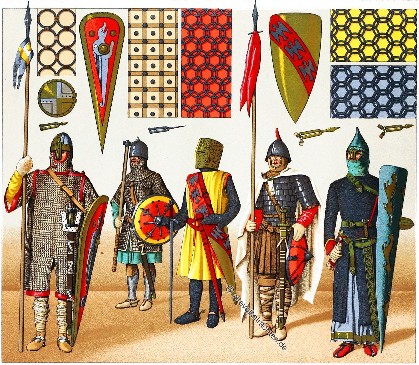 Kriegstrachten, Rüstungen, Ritter, Mittelalter, Franken, Frankreich, Trachten, Waffen, Auguste Racinet