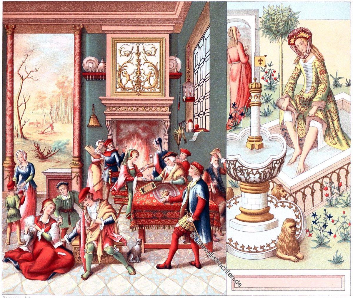 INNERES DES SCHLOSSES: DER SAAL. DIE KÖRPERPFLEGE.  Europa. XV. XVI. Jahrhundert.