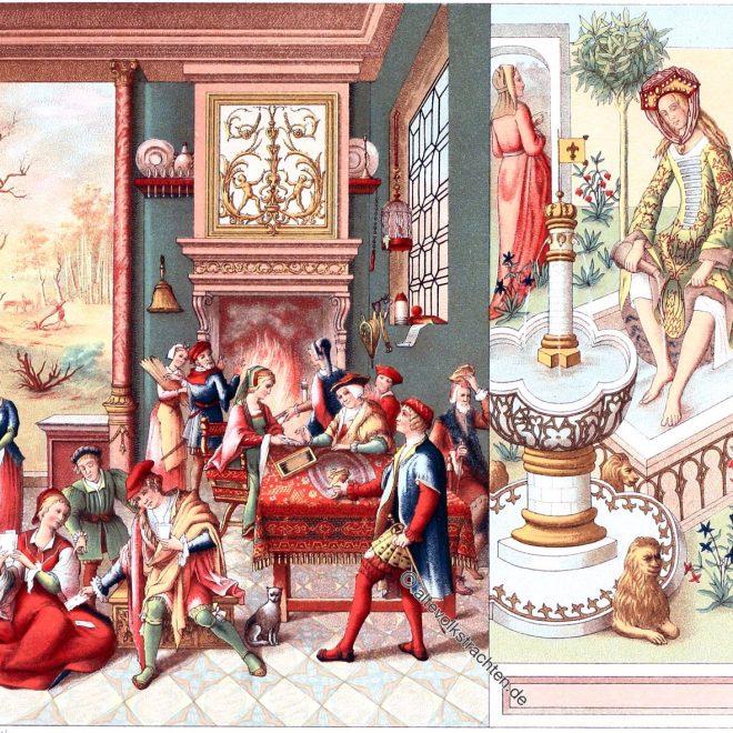 Schloss, Mittelalter, Körperpflege, Kostüme, Auguste Racinet, Kleidung
