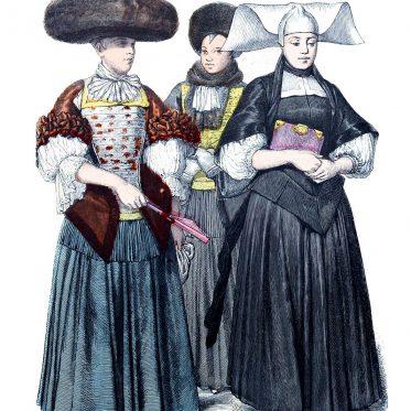 Straßburger Mode im 17. Jh. Frauenkleidung um 1670.
