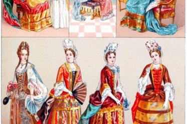 Barock, Mode, Fontange, Squinquerque, Alençon, Préttintailles, Ballkostüm, Auguste Racinet, Louis XIV.