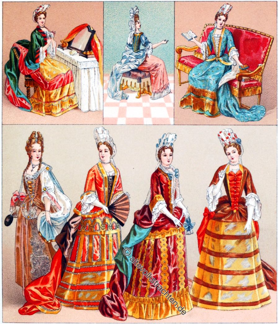 Mode unter Louis XIV. Weibliche Kostüme Ende des 17. Jh.