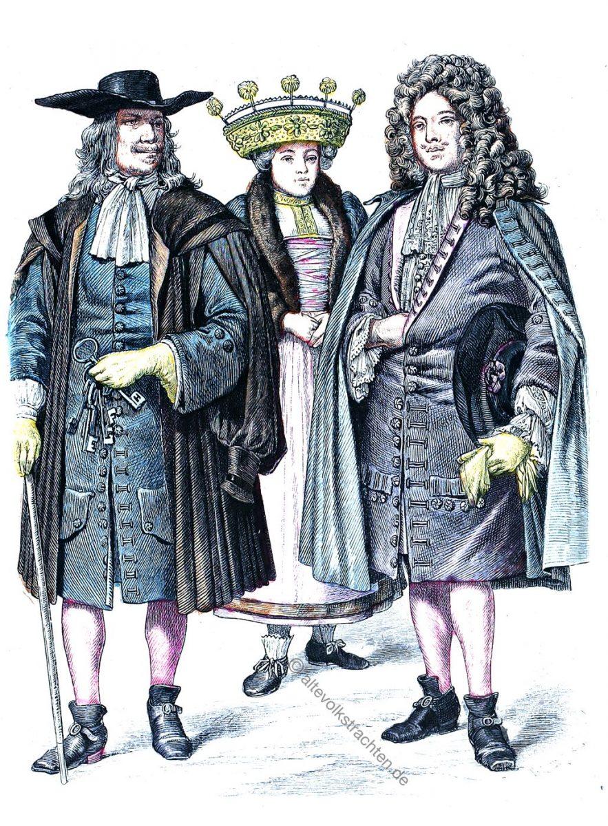 Strassburger Turmhüter. Bäuerin als Braut mit Brautkrone, Hochzeiter im Jahre 1670.