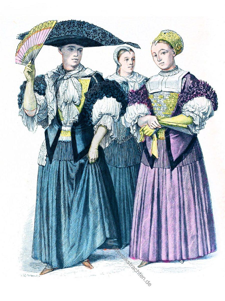 Münchener Bilderbogen, Mode des Barock in Strassburg. Bekleidung der Strassburger Jungfrauen und Hochzeiterin 1670-1690.