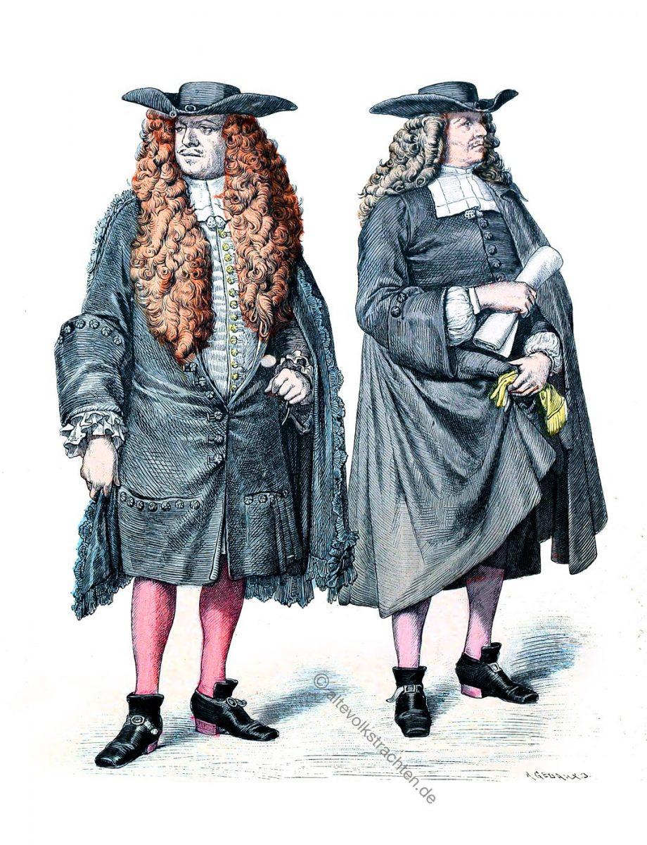 Strassburger Kostüme des Barock. Monsieur le Consul (Ameister) und Strassburger Ratsherr mit Allongeperücken.