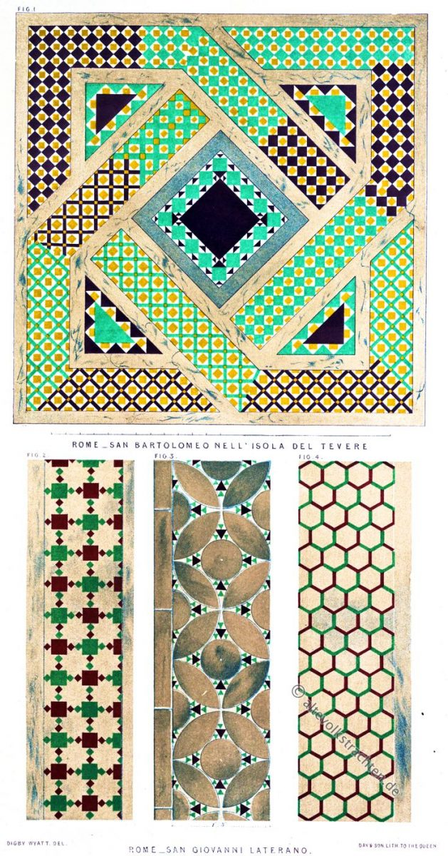 Mosaiken von San Bartolomeo all'Isola und San Giovanni in Laterano, Rom. Beispiele des geometrischen Mosaiks des Mittelalters.