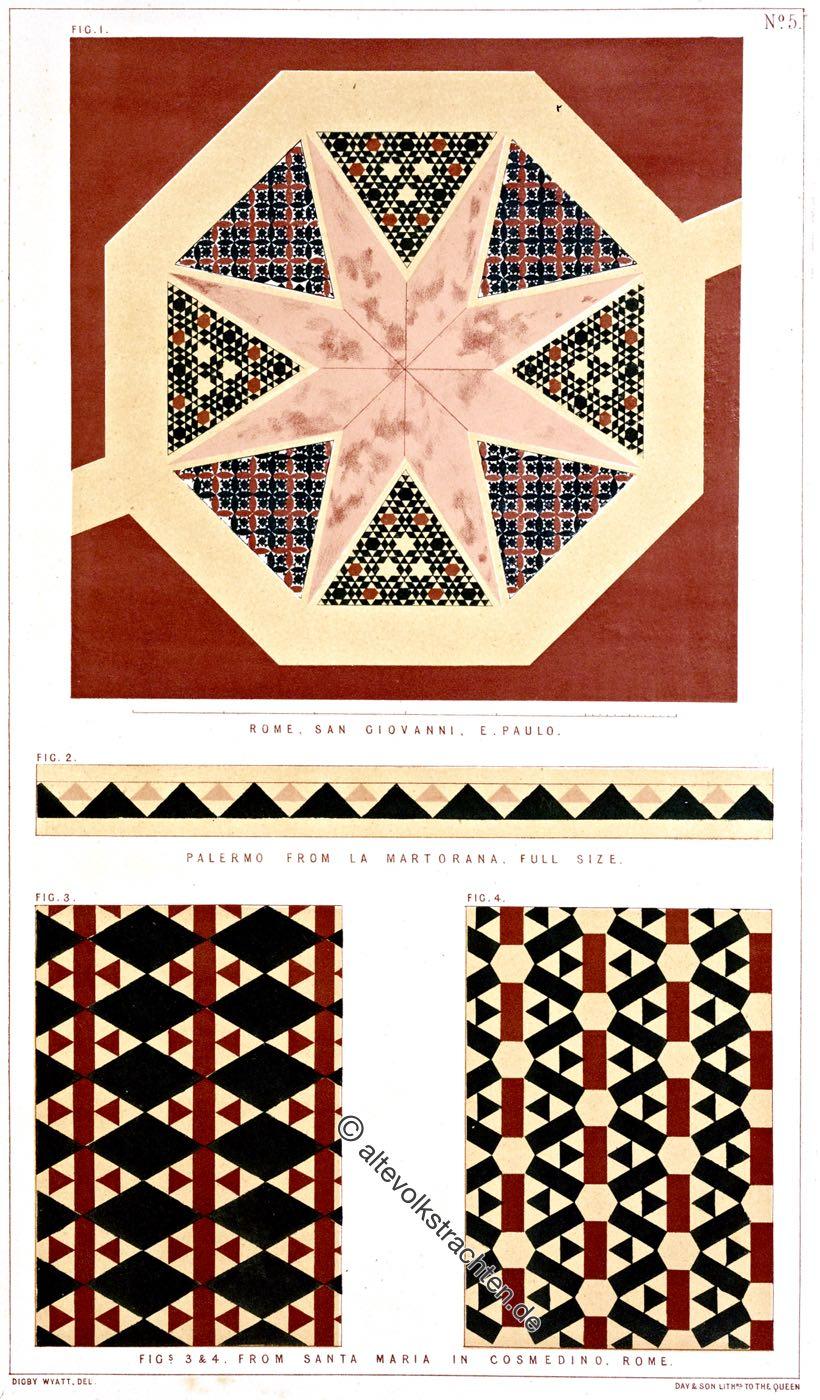 Mosaiken, Opus Alexandrinum, S. Giovanni e Paolo, La Martorana, Palermo, Santa Maria, Cosmedino, Rom