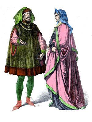 Deutsche Patrizier um 1430. Münchener Bilderbogen. Mittelalter Gewandung. Mode der Gotik im 15. Jahrhundert.