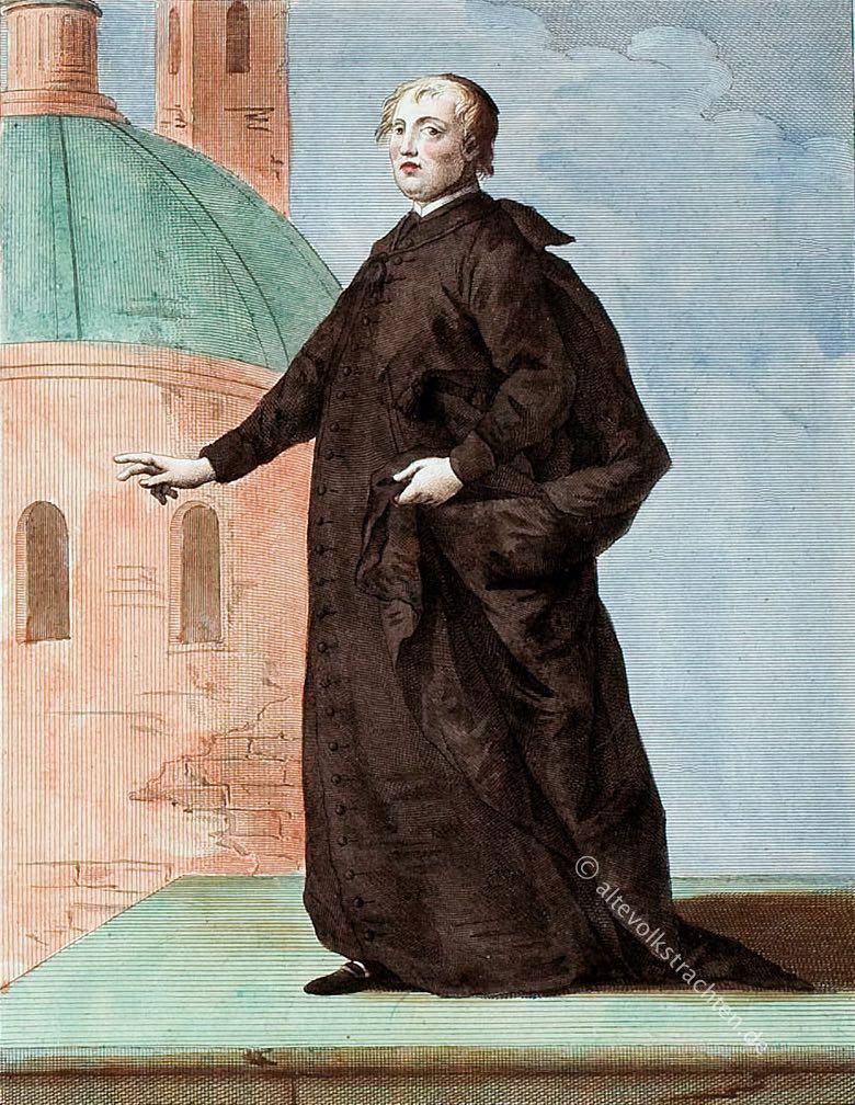Römisch-katholischer Priester im langen Talar. Sacerdote Latino in veste Talare. Prêtre Latin en habit Long.