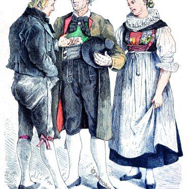 Lienzer Trachten, Osttirol, Österreich um 1840.