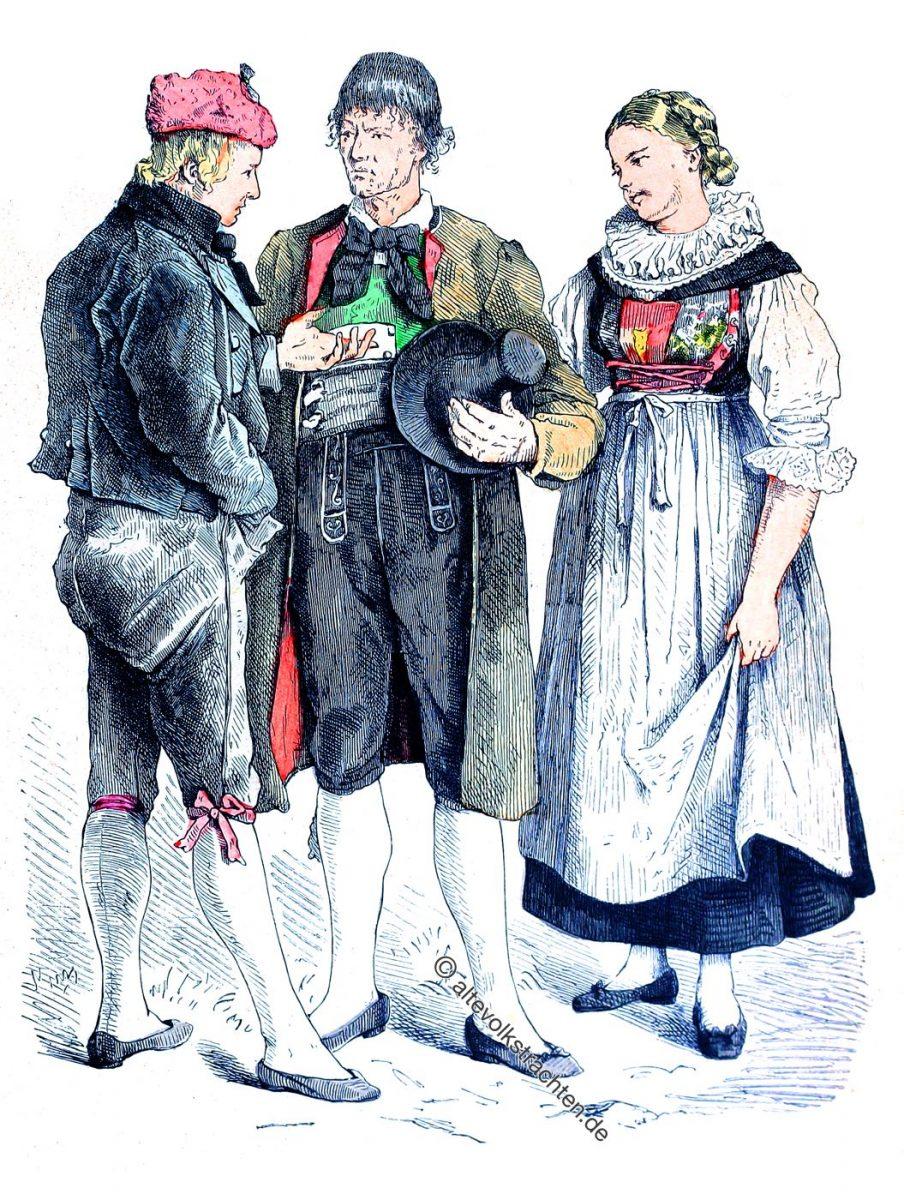 Pustertal. Lienzer Trachten, Osttirol, Österreich um 1840. Münchener Bilderbogen.