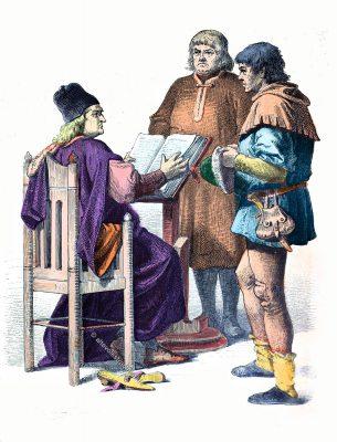 Münchener Bilderbogen. Richter, Bürger, Bauer in der Kleidung um 1430. Mode im Mittelalter. Gewandung der Gotik.